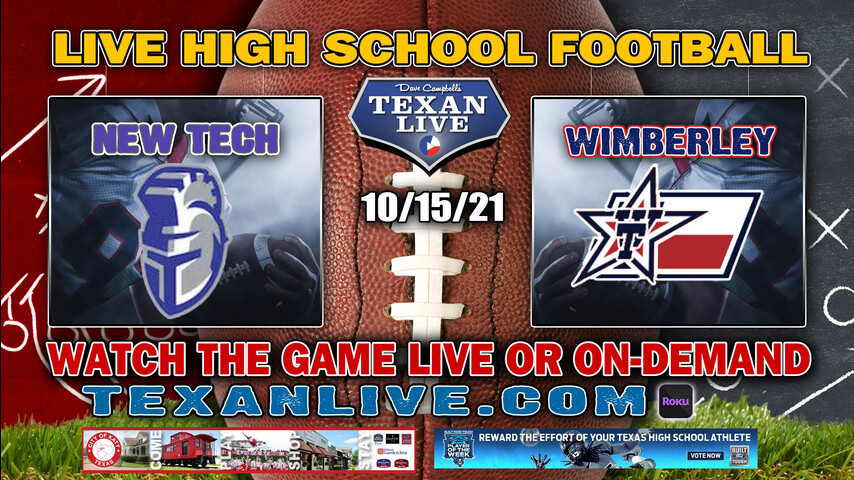 Manor New Tech vs Wimberley - 7:30PM- 10/15/2021- Football - Live from Texan Stadium